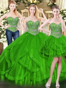 Enchanting Green Lace Up Ball Gown Prom Dress Beading and Ruffles Sleeveless Floor Length