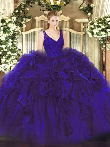 Floor Length Backless Sweet 16 Quinceanera Dress Purple for Military Ball and Sweet 16 and Quinceanera with Beading and Lace and Ruffles
