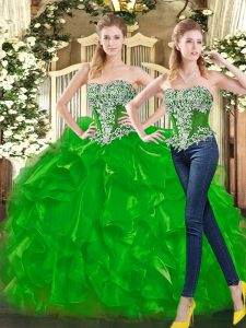 Beading and Ruffles Quinceanera Gown Green Lace Up Sleeveless Floor Length