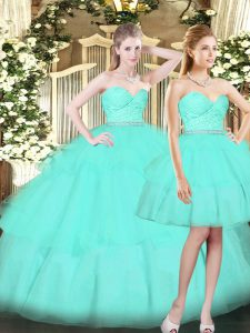 Tulle Sweetheart Sleeveless Lace Up Ruching Ball Gown Prom Dress in Aqua Blue