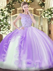 Eye-catching Beading and Ruffles Quinceanera Gowns Lavender Zipper Sleeveless Floor Length