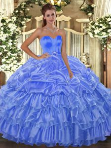 Baby Blue Sweetheart Lace Up Beading and Ruffled Layers 15th Birthday Dress Sleeveless