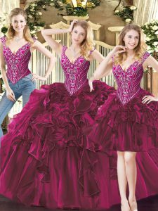 Exquisite Floor Length Three Pieces Sleeveless Fuchsia Vestidos de Quinceanera Lace Up