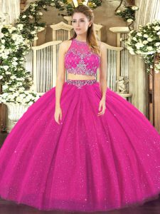 High Quality Sleeveless Zipper Floor Length Beading Quinceanera Gowns