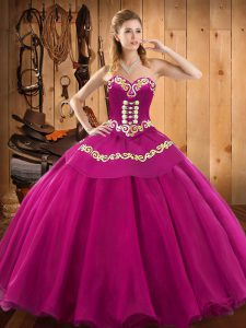 Sweetheart Sleeveless Lace Up Quinceanera Dress Fuchsia Tulle