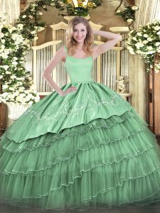 Admirable Floor Length Green Sweet 16 Quinceanera Dress Organza Sleeveless Embroidery and Ruffled Layers