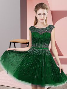 Vintage Knee Length Empire Sleeveless Green Dress for Prom Backless