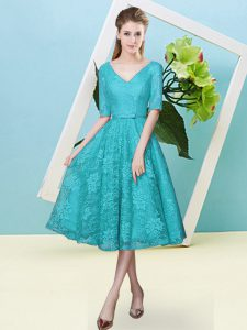 Inexpensive Bowknot Court Dresses for Sweet 16 Teal Lace Up Half Sleeves Tea Length