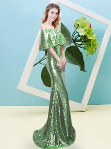 New Arrival Zipper Prom Dress Sequins Half Sleeves Floor Length