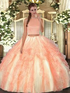 New Arrival Orange Red Backless Halter Top Beading and Ruffles Quinceanera Gowns Organza Sleeveless