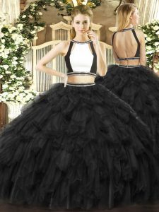 Floor Length Black Quinceanera Dress Halter Top Sleeveless Backless