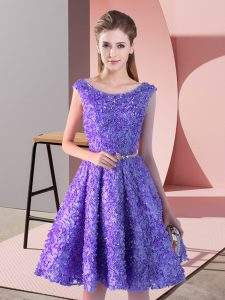 Charming Knee Length Lavender Homecoming Dress Scoop Sleeveless Lace Up