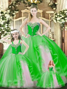 Smart Green Sweet 16 Dress Military Ball and Sweet 16 and Quinceanera with Beading and Ruffles Sweetheart Sleeveless Lace Up