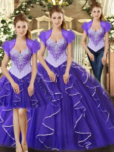 Purple Sleeveless Floor Length Beading and Ruffles Lace Up Quinceanera Gown