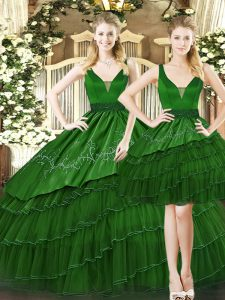 Flare Dark Green Straps Lace Up Beading and Ruffled Layers Ball Gown Prom Dress Sleeveless