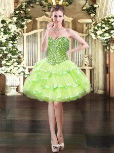 Yellow Green Ball Gowns Beading Prom Dresses Lace Up Organza Sleeveless Mini Length
