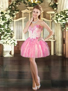 Ideal Pink Sleeveless Mini Length Beading and Ruffles Lace Up Prom Dress