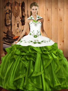 Embroidery and Ruffles Sweet 16 Dresses Olive Green Lace Up Sleeveless Floor Length