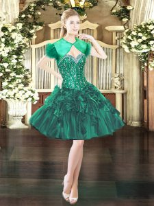 Artistic Sleeveless Organza Mini Length Lace Up Prom Evening Gown in Dark Green with Beading and Ruffles