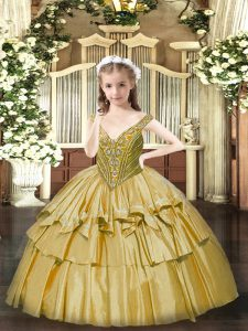 Floor Length Gold Pageant Dress for Girls V-neck Sleeveless Lace Up