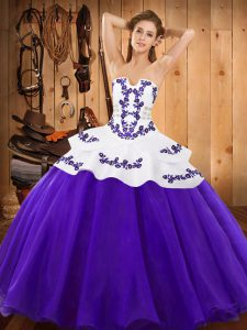 Purple Lace Up Quinceanera Dress Embroidery Sleeveless Floor Length