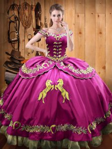 Fuchsia Lace Up Sweet 16 Dresses Beading and Embroidery Sleeveless Floor Length