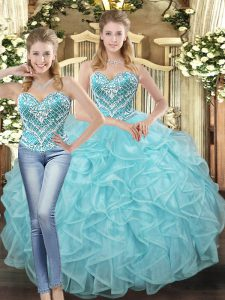 Smart Floor Length Lace Up Sweet 16 Quinceanera Dress Baby Blue for Military Ball and Sweet 16 and Quinceanera with Beading and Ruffles