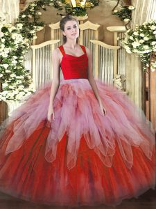 Multi-color Ball Gowns Organza Straps Sleeveless Lace and Ruffles Floor Length Zipper Sweet 16 Quinceanera Dress