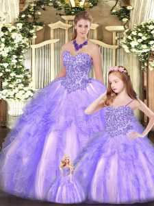 Cute Lavender Ball Gowns Sweetheart Sleeveless Organza Floor Length Lace Up Beading and Ruffles Ball Gown Prom Dress