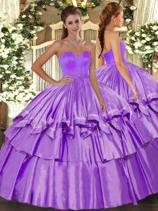 Stunning Floor Length Lace Up 15th Birthday Dress Lilac for Military Ball and Sweet 16 and Quinceanera with Beading and Ruffled Layers