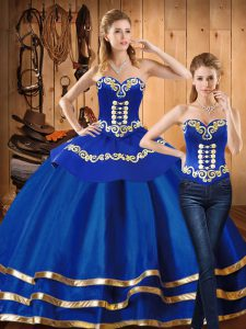 Blue Ball Gowns Satin and Tulle Sweetheart Long Sleeves Embroidery Floor Length Lace Up Ball Gown Prom Dress