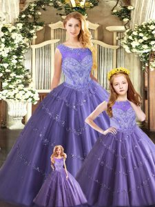 Tulle Scoop Sleeveless Lace Up Beading Sweet 16 Dress in Lavender