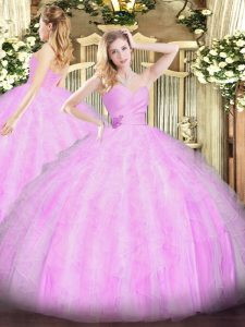 Lilac Sleeveless Beading and Ruffles Floor Length Quinceanera Dresses
