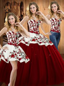Wine Red Sleeveless Floor Length Embroidery Lace Up Vestidos de Quinceanera
