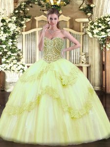 Enchanting Ball Gowns 15th Birthday Dress Yellow Green Sweetheart Tulle Sleeveless Floor Length Lace Up