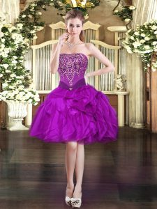 Adorable Purple Ball Gowns Beading and Ruffles Homecoming Dress Lace Up Organza Sleeveless Mini Length