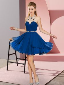 Sleeveless Chiffon Mini Length Zipper Prom Evening Gown in Blue with Beading