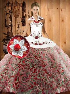 Discount Halter Top Sleeveless Quinceanera Gowns Sweep Train Embroidery Multi-color Fabric With Rolling Flowers