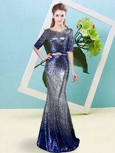 Romantic Scoop Half Sleeves Evening Dress Floor Length Sequins and Belt Multi-color Sequined