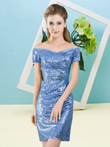Baby Blue Sequined Zipper Dress for Prom Short Sleeves Mini Length Sequins