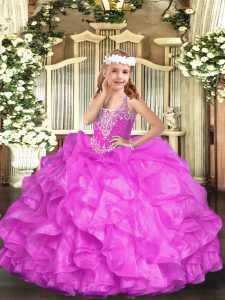 Fantastic Sleeveless Organza Floor Length Lace Up Pageant Dress for Teens in Lilac with Beading and Ruffles