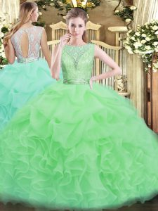 Scoop Sleeveless Ball Gown Prom Dress Floor Length Lace and Ruffles Organza