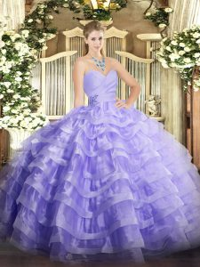 Low Price Lavender Sleeveless Organza Lace Up Quince Ball Gowns for Military Ball and Sweet 16 and Quinceanera