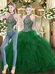 Chic Organza Sleeveless Floor Length Quinceanera Dresses and Beading and Ruffles