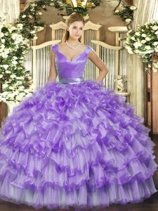 Fine Organza V-neck Sleeveless Zipper Ruffled Layers Quinceanera Gowns in Lavender