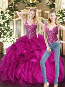Floor Length Fuchsia 15th Birthday Dress Organza Sleeveless Ruffles