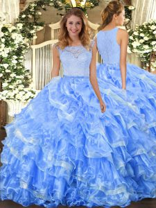 Light Blue Scoop Neckline Lace and Ruffled Layers Quinceanera Dresses Sleeveless Clasp Handle