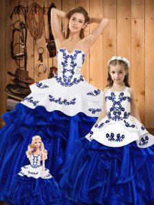 Custom Made Sleeveless Organza Floor Length Lace Up Quince Ball Gowns in Blue with Embroidery and Ruffles