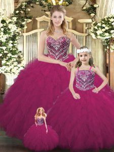 Fabulous Sleeveless Lace Up Floor Length Beading and Ruffles Quinceanera Dress