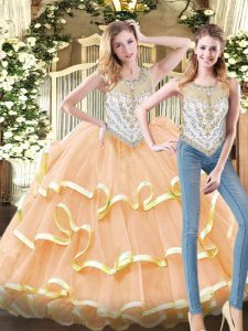 Sleeveless Organza Floor Length Zipper Quinceanera Gown in Peach with Beading and Ruffled Layers